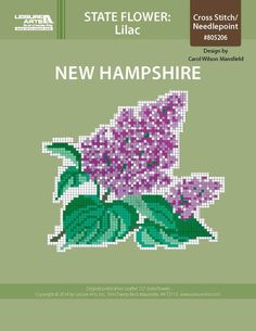 New Hampshire Lilac ePattern - Projects made using the colored cross stitch chart of your state flower is an added addition to your home