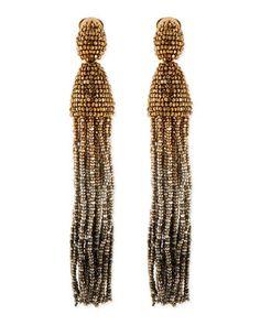Long Ombre-Beaded Tassel Earrings, Golden by Oscar de la Renta at Bergdorf Goodman.