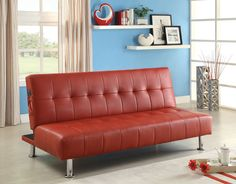 CM2669P-RD Bulle Collection Futon Sofa