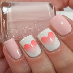 Breast Cancer Awareness pink sponged hearts nail art