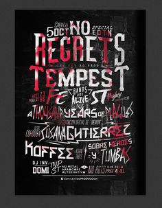 NO REGRETS / TEMPEST Fest! by Overloaded design, via Behance