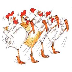 Chorus Line of 4 leg kicking chickens