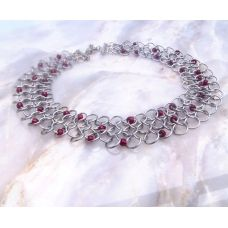 Chainmail Choker Necklace - Dragon Blood Droplet Spiral Fountain Jewellery