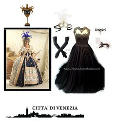 """""""The Venice Carnival"""" by unoriginalpeach ❤ liked on Polyvore featuring Pier 1 Imports, Authentic Models and Black"""