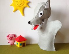 Little red riding hood puppet - wolf hand puppet, hand puppets, wolf puppets - Wolf hand puppet - children toy, theatre - by FeltforAdults on Etsy Hand Puppets, Finger Puppets, Puppet Patterns, Toy Theatre, Unique Toys, Three Little Pigs, Handmade Felt, Red Riding Hood, Creative Kids