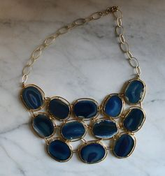 vintage blue agate bib necklace