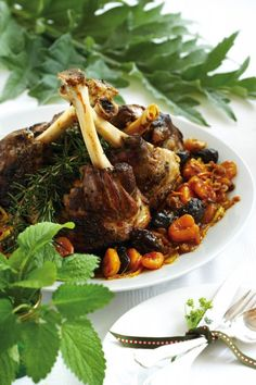 Lamb Shanks With Pears And Pistachios Recipe — Dishmaps