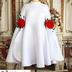 Cheap white cocktail dress, Buy Quality cocktail dresses directly from China cocktail white dress Suppliers: New Arrival High Neck Long Sleeves White Cocktail Dresses 2017 with Flowers Mini Short Beautiful Black Party Dress Formal Gowns African Attire, African Fashion Dresses, African Dress, Hijab Fashion, Girl Fashion, Fashion Outfits, Dress Fashion, Fashion News, Mode Lolita