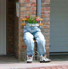 jeans into a flower pot