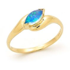 regular ring size US 7 (UK N1/2), 1 stone 8mm x 4mm Marquise A beautiful 14k Yellow Gold Solid Light Opal Ring, a modern piece of opal jewellery