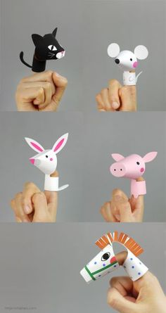 Pepper and Buttons: Animal Finger Puppets {by Mr Printables} - This . - Pepper and Buttons: Animal Finger Puppets {by mr printables} – This is Why I Need Children - Kids Crafts, Projects For Kids, Diy For Kids, Craft Projects, Creative Crafts, Paper Toys, Paper Crafts, Paper Puppets, Diy Paper