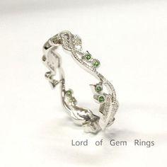 Diamonds Tsavorites Wedding Band Eternity Anniversary Ring 14K White Gold - Lord of Gem Rings - 1
