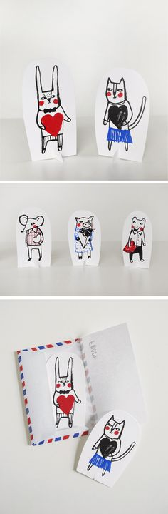 Mer Mag: LOVE LETTER PALS printable paper toys and Valentines