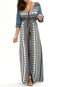 $18.89 Empire Waist Button Down Bohemian Maxi Dress - Blue