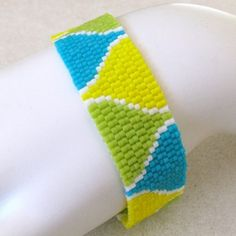 Summer Funnels Peyote Cuff Bracelet (2491) - A Sand Fibers Creation
