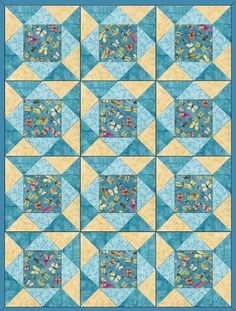 Butterflies French blue pre-cut quilt kit in tones of blue and yellow. Cotton fabrics are butterflies, dragonflies, feathers, bee Fabrics by Red Rooster Fabrics