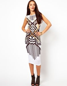 ASOS Foil Print Bodycon Midi Dress