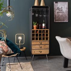 The Vino drinks cabinet from Dutchbone is a mix of Industrial, Vintage and urban style with ample drinks, glass and bar accessories storage and free UK delivery Decor, Furniture, Wine Cabinets, Floral Room, Solid Wood Furniture, Home Decor, Hickory Furniture, Vintage Cabinets, Trendy Bedroom