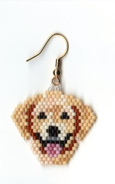 hand beaded yellow lab dog heads by jjsims43 on Etsy, $9.00