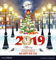happy new year and merry Christmas winter old town street with christmas tree. Santa Claus with deers in sky above the city. concept for greeting, postal card, invitation, template, 2019 clock Merry Christmas Images, Merry Christmas Wishes, Christmas Clipart, Merry Christmas And Happy New Year, Christmas Greetings, Christmas 2019, Christmas Tree, Happy New Year Everyone, Happy New Year 2019