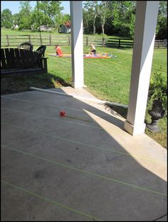 "New ""Tile"" Patio Floor Reveal! (and giveaway winner!) – Beneath My Heart Da… Painted Concrete Floors, Painting Concrete, Stained Concrete, Concrete Patio, Pavers Patio, Patio Stone, Patio Plants, Backyard Patio, Walkway"