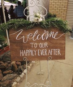 Hand painted wedding welcome sign. Available for hire from www.thesmallthings.co Melbourne based wedding hire company