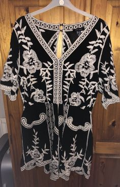 39bf8df1a302 New Look Monochrome Boho  Festival Playsuit  fashion  clothing  shoes   accessories