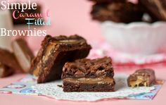 Simple Caramel Filled Brownies from the Cookbook Queen.