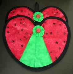 Watermelon Heart Hot Pad Pair on Etsy, $10.00