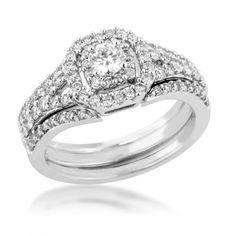 Ladies Unity Diamond Wedding Set in White Gold