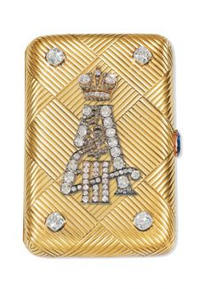 A RARE IMPERIAL PRESENTATION FABERGÉ JEWELLED GOLD CIGARETTE CASE, WORKMASTER MICHAEL PERCHIN, ST PETERSBURG, PRESENTED 1890