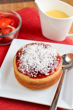 Jam and Coconut Sponge Cake - just like the pudding you used to get at school and you just won't believe is Slimming World friendly