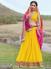 Yellow & Rani Pink Color Georgette Festival & Function Wear Sarees : Selina Collection  YF-43380