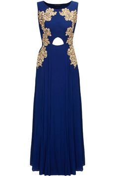 Royal blue embroidered cut out anarkali with floral work dupatta by Aneesh Agarwaal.     Shop now:  http://www.perniaspopupshop.com/designers/aneesh-agarwaal  #shopnow #perniaspopupshop #aneeshagarwaal