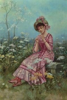 Eisman-Semenowsky, Emile (b,1857)- Daisy- Loves Me, Loves Me Not