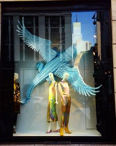 "BERGDORF GOODMAN, New York City, USA, ""Listen Jessica... If you see a crocodile with wings don't forget to scream!!!"", photo by Celina Leung, pinned by Ton van der Veer Retail Windows, Store Windows, Visual Cue, Behind The Glass, Visual Merchandising Displays, Window Design, Bergdorf Goodman, Box Design, Scream"