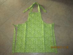 Lime Green Bandana Cotton (marbled lime green backing-no pockets) - Adult Sized Apron by ShawnasSpecialties on Etsy