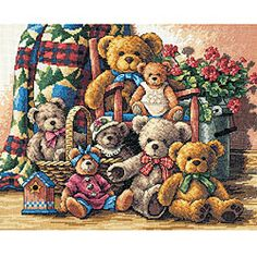 Gold Collection Teddy Bear cross stitch kit is a must-have Counted cross stitch kit will help you create a stunning masterpiece An ideal project for avid needlework beginners or experts Design uses ha