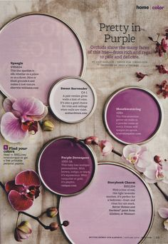 Shades of purple (orchid inspired) including Sherwin Williams Spangle