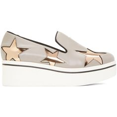 Stella McCartney Grey Star Binx Sneakers (€410) ❤ liked on Polyvore featuring shoes, sneakers, grey, leather sneakers, stella mccartney sneakers, grey shoes, leather low top sneakers and gray shoes