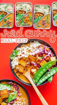 This Thai Red Curry Meal Prep is a vegan-friendly lunch idea that will have you so excited for lunch this week! Vegan Dinner Recipes, Vegetarian Recipes Easy, Curry Recipes, Vegan Dinners, Lunch Recipes, Healthy Recipes, Healthy Meals, Healthy Food, Vegetarian Meal Prep