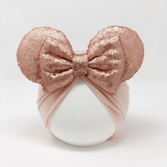 Rose gold minnie ears and bow with pale pink turban sizing newborn best fit for ages 0 3 months infant best fit for ages to toddle best fit for ages to child best fit for ages to teen adult best fit for ages to a Diy Disney Ears, Disney Mickey Ears, Disney Diy, Baby Turban, Rose Gold Minnie Ears, Baby Girl Hair Accessories, Ear Headbands, Baby Bows, Baby Girl Fashion