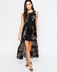 Liquorish | Платье миди с верхним слоем и выжженным животным принтом Liquorish