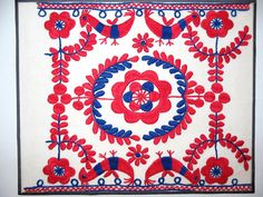 Sample of older style Matyo embroidery, Kisjankó Bori Emlékház. Mezőkövesd, Hungary. Folk Embroidery, My Heritage, Folklore, Hungary, Needlework, 1, Kids Rugs, Patterns, Crafts