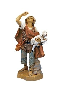 Fontanini Micah the Shepherd Carrying a Sheep Italian Nativity Village Figurine Teelie's Fairy Garden Fontanini Nativity, Lucca Italy, Christmas Time Is Here, Christmas 2019, Garden Drawing, Important Things In Life, The Shepherd, Sheep, Roman