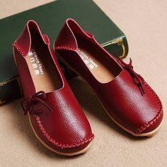 Big Size Pure Color Slip On Lace Up Soft Sole Comfortable Flat Loafers 81dcf062d132