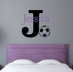 Elegant Personalized Name Soccer Wall Decal   Custom Name Soccer Wall Sticker   Vinyl  Decal Monogram Girls Boys Room   Childrens Nursery Wall Decor