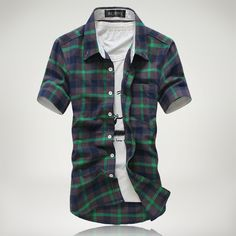 Plaid Fashion Short Sleeve Casual Social Shirt 4 Colors