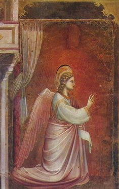 Giotto di Bondone ~ Annunciation (detail, The Angel Gabriel Sent by God), Cappella Scrovegni, Padua, 1306