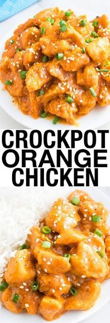 This easy SLOW COOKER ORANGE CHICKEN recipe with sweet and sour flavors is best served with rice or noodles. This crockpot orange chicken requires simple ingredients. Tastes better than Chinese take out and makes an easy weeknight dinner. From cakewhiz. Orange Chicken Recipe Slow Cooker, Orange Chicken Crock Pot, Slow Cooker Chicken, Chinese Orange Chicken, Healthy Orange Chicken, Slow Cooker Huhn, Crock Pot Slow Cooker, Crock Pots, Easy Chinese Recipes